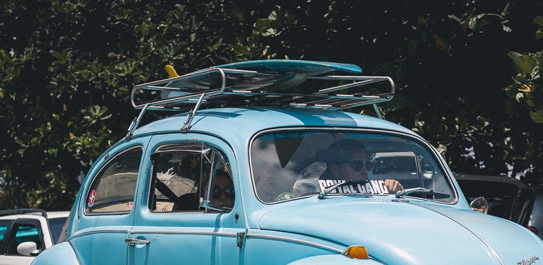 roof racks on a blue car