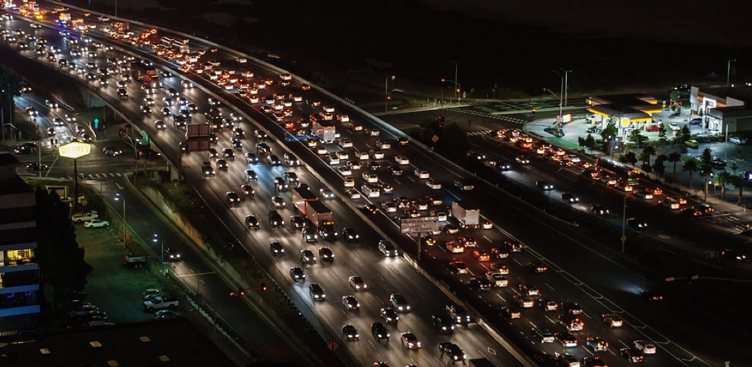 slow traffic by night
