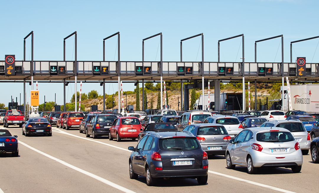 toll station full of cars